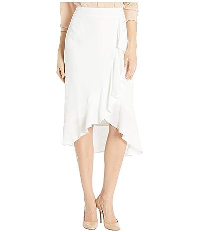 Cupcakes and Cashmere Roxanne Natural Waist Viscose Slub Skirt w/ Ruffle Detail (Marshmallow) Women