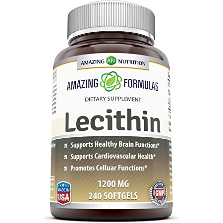 Amazing Formulas Lecithin Dietary Supplement * 1200 mg High Potency Lecithin Softgels (Non GMO,Gluten Free) -Promotes Brain & Cardiovascular Health * Aids in Cellular Activities * 240 Softgels