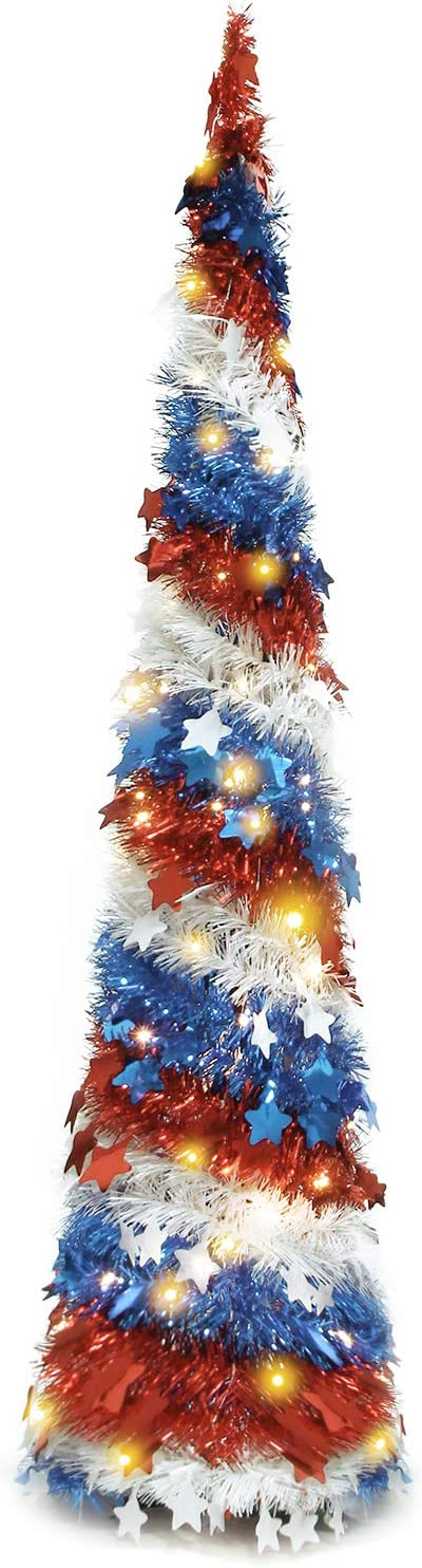 RoseCraft 5FT American Flag Tinsel Pull of SEAL limited product Tree Used for security Up 4th