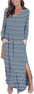 Womens Tshirt Long Dress Side Slit Maxi Dresses Casual Short Sleeve with Pockets