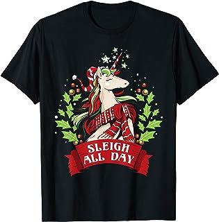 Traîneau toute la journée Noël mignon Santa Licorne T-Shirt