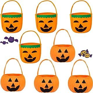 Viesap Panier Bonbon Halloween, 8 Pcs Sac De Bonbons Citrouille, Sac De Citrouille Trick Or Treat, Sac Citrouille Sac Bonb...