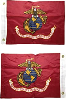 AES 12x18 Embroidered EGA Marines Marine Corps Double Sided 2ply 220D Nylon 12