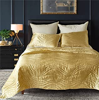 DREFEEL Luxury Quality Super Soft Quilted Bedspread Set 3 Pieces Queen Size 90 by 90 Inches - Hypoallergenic Silk Coverlet - Solid Comforter All Season,Gold