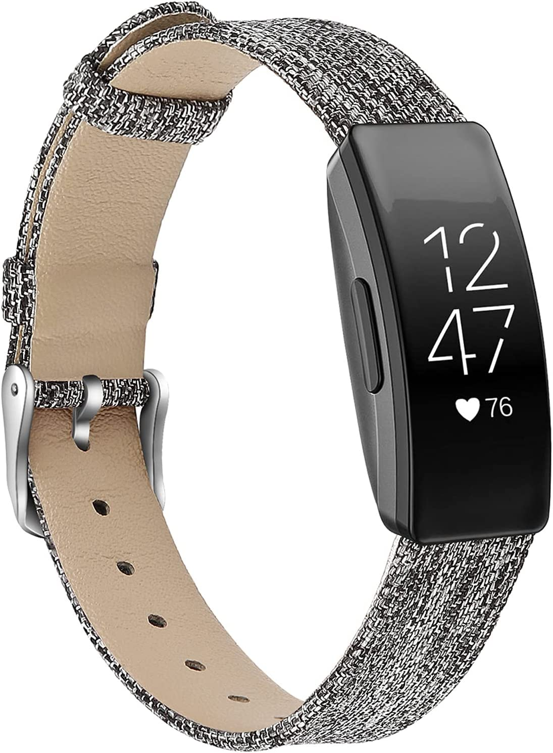 Inspire Smart Bracelet, MVRYCE Stylish Genuine Leather Replacement Band Canvas Woven Adjustable Bracelet Accessory Strap Compatible with Inspire/Inspire HR/ACE 2 (Large Size 6.7