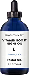 Provence Beauty | Vitamin Boost Night Face Oil - Vitamin A, C & E | Anti-Aging, Wrinkle & Fine Line Reduction, Brightening, Damage Repairing Solution - 2 FL OZ