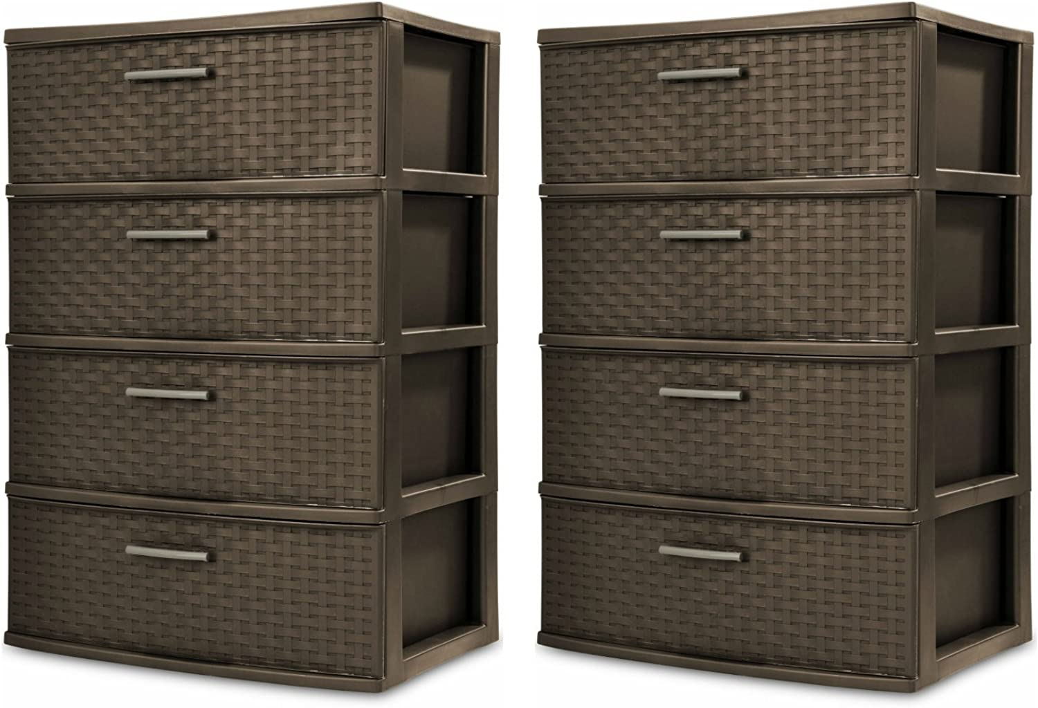 Sterilite 4-Drawer Wide Weave Tower, Espresso Frame & Drawers w  Driftwood Handles, 2-Pack