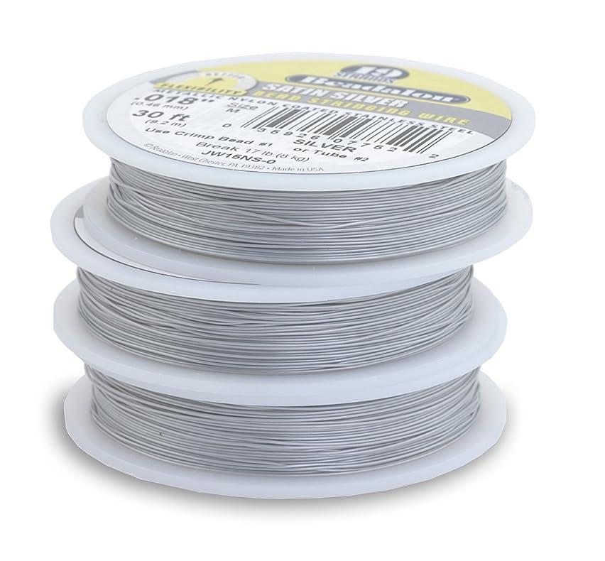 Beadalon 19-Strand Bead Stringing Wire, 0.024-Inch, Satin Silver, 100-Feet