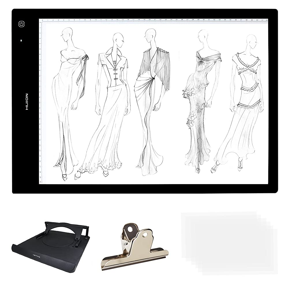 Huion 24'' A3 Size Lightness Adjustable Built-in Battery USB Cable LED Portable Drawing Tracing Stencil Board Tattoo Light Box with Kenting Stander,Clip,6 Pieces of Tracing Paper,Cleaning Cloth-LB3H