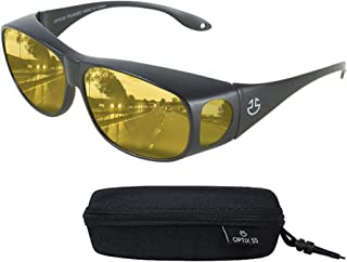 Night Vision Wraparound Glasses - Fits Over Prescription Glasses - Yellow Tinted Polarized Lenses Reduce Glare For Night Driving - Bonus Case - By Optix 55