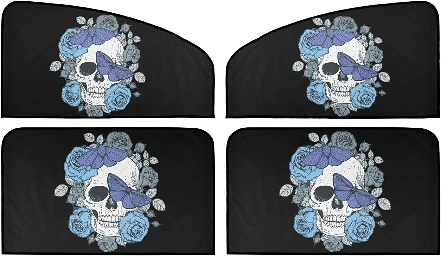 Skull and Butterflies Car Sun Shade Uni Pack Limited time trial price Insulation Summer 4 Superior
