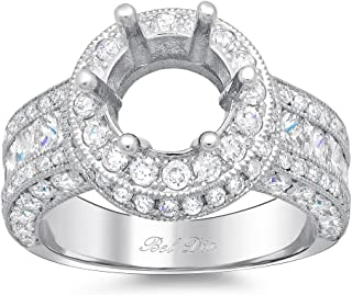 Bel Dia 14k White Gold Diamond Halo Engagement Ring 7.5mm