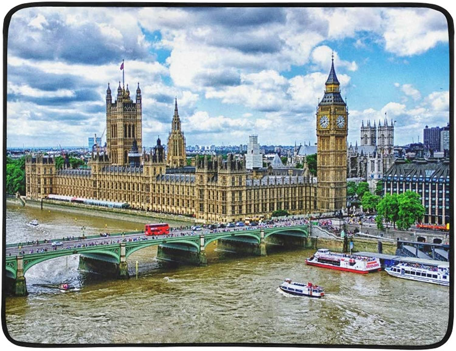 Big Ben London Palace of Westminster Bridge River Pattern Portable and Foldable Blanket Mat 60x78 Inch Handy Mat for Camping Picnic Beach Indoor Outdoor Travel