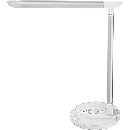 TaoTronics LED デスクライト 高速ワイヤレス充電対応 HyperAirテクノロジー Qi充電対応 7段階明るさ 5色の色温度 USB充電ポート付 目に優しい