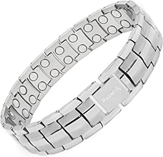 MagnetRX Ultra Strength Men's Magnetic Bracelet - Arthritis Pain Relief & Carpal Tunnel Magnetic Therapy Bracelets | Adjustable with Gift Box … (Silver)