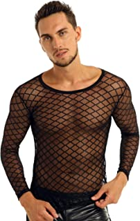 Men's See Through Mesh Fishnet Long Sleeve Fitted Muscle Tops Club Wear T-Shirt