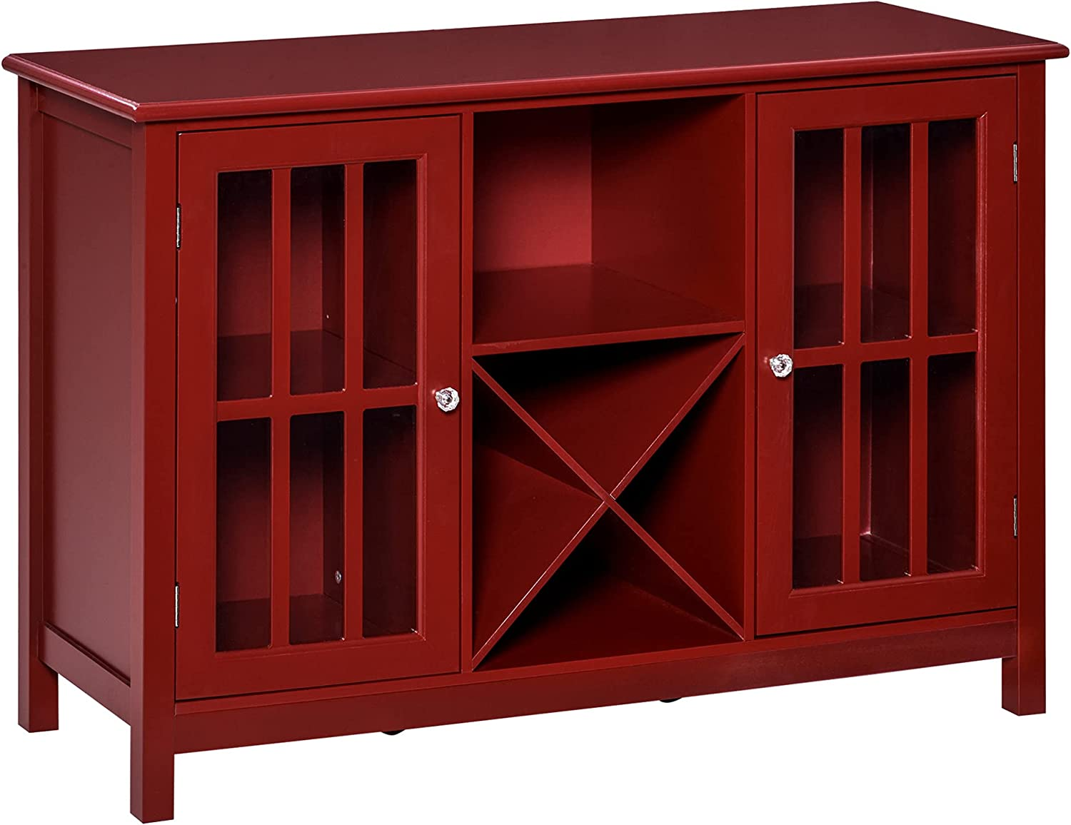 HOMCOM Serving Buffet Sideboard Cabinet with Open Storage, 12 Bottle Wine Rack, Framed Glass Doors and 2 Cabinets, Red