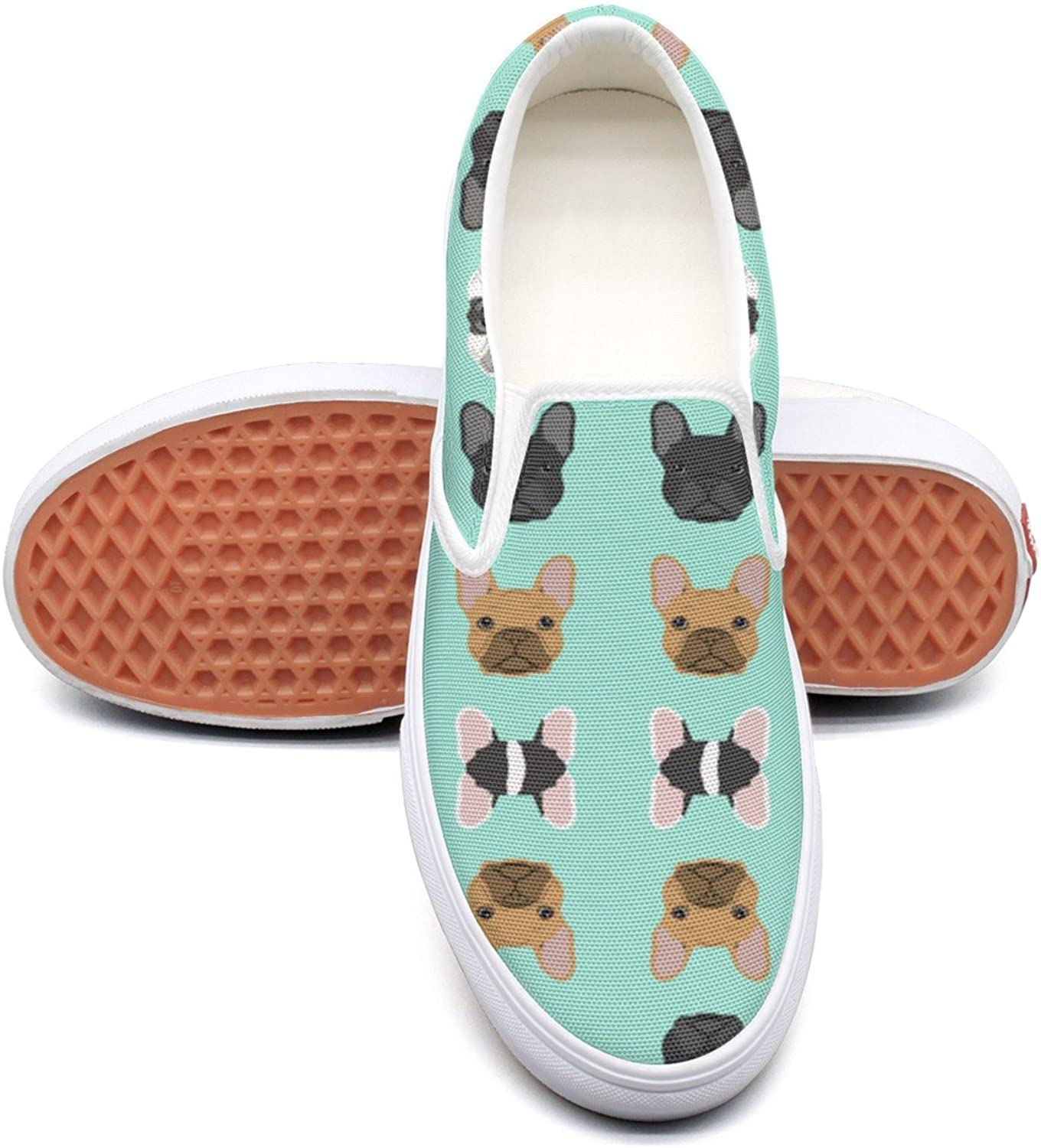 Lalige Bulldogs Womens Breathable Canvas Slip-on Slip-ons