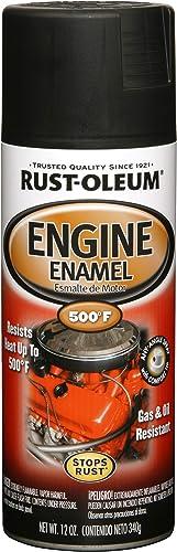 Rust-Oleum 248938 Engine Enamel, Blk, 12 oz, Spray Automotive Accessories, Low Gloss Black