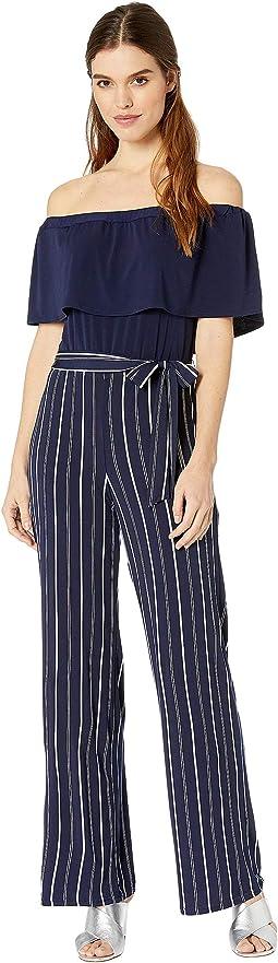 Stripe Crepe Jumpsuit