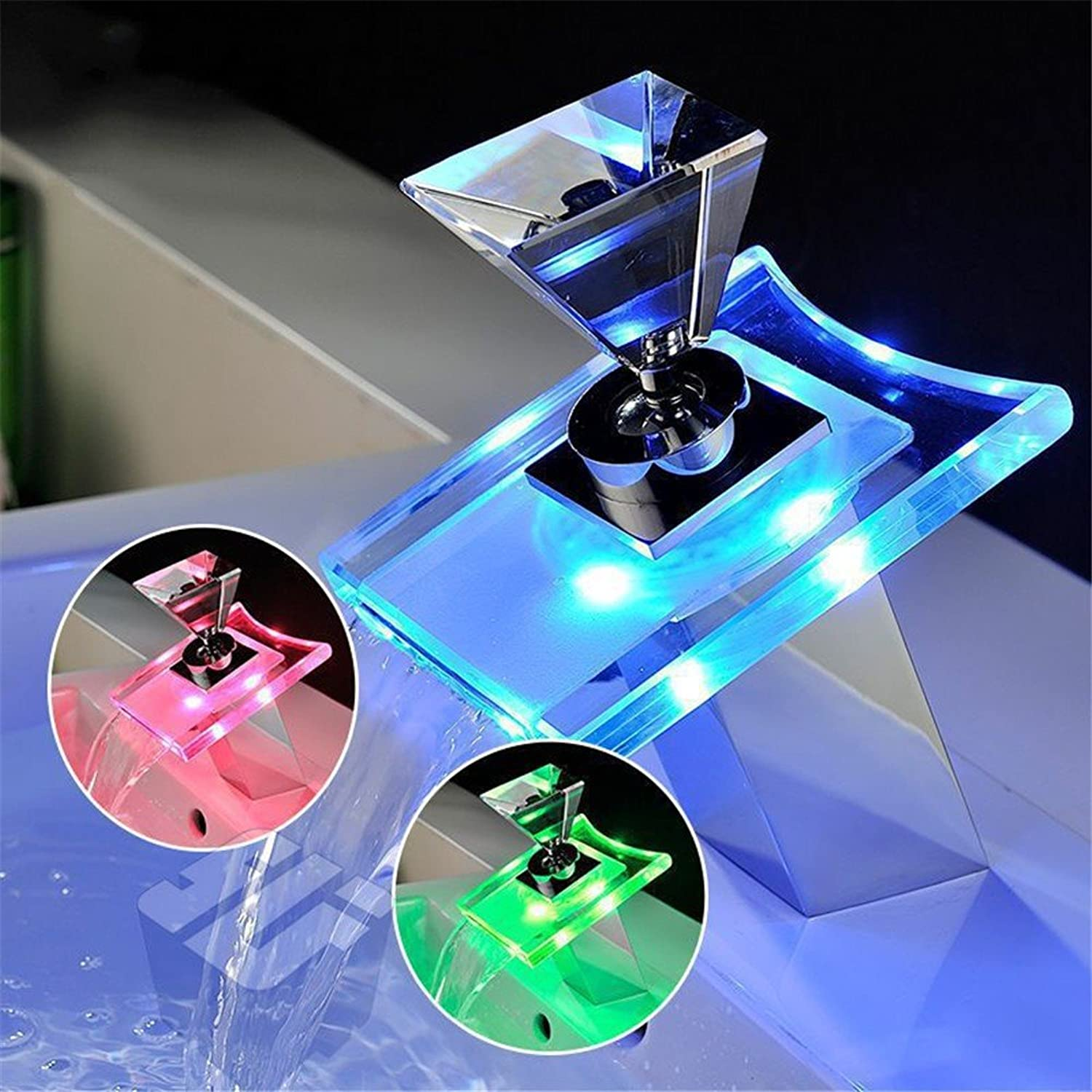 Full copper LED waterfall basin hot water faucet crystal glowing temperature controlled discoloration basin faucet