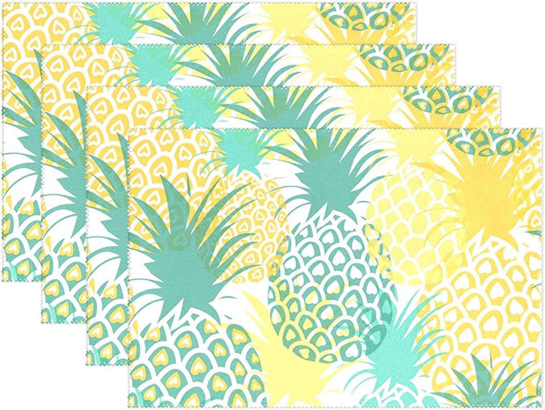 My Little Nest Heat Resistant Placemats Pineapples Washable Polyester Table Mats For Party Kitchen Dining Table Set Of 4
