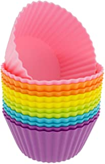 Freshware Silicone Baking Cups [12-Pack] Reusable Cupcake Liners Non-Stick Muffin Cups Cake Molds Cupcake Holder in 6 Rain...
