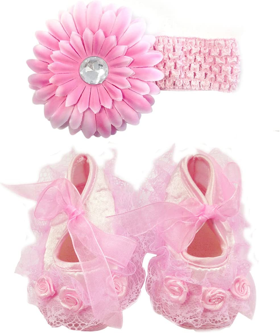 Wrapables Floral and Lace Keepsake Shoes and Headband Set, Pink Size 11