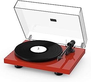 Pro Ject Debut Carbon EVO, Audiophiler Plattenspieler mit Carbon Tonarm, elektronischer Geschwindigkeitsumschaltung und vormontiertem 2M Red Tonabnehmer (Hochglanz Rot)