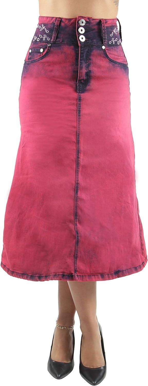 Fashion2Love Women's Juniors/Plus Size Long A-Line Stretch Denim Maxi Skirt