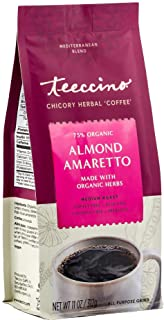 Teeccino Chicory Coffee Alternative – Almond Amaretto – Ground Herbal Coffee That's Prebiotic, Caffeine Free & Acid Free, ...
