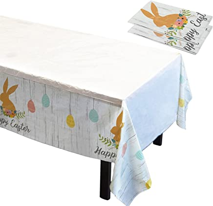 Easter Tablecloth - 3 Pack of Disposable Plastic Rectangular Tablecloths - Bunny and Egg Design, 54 x 108 Inches