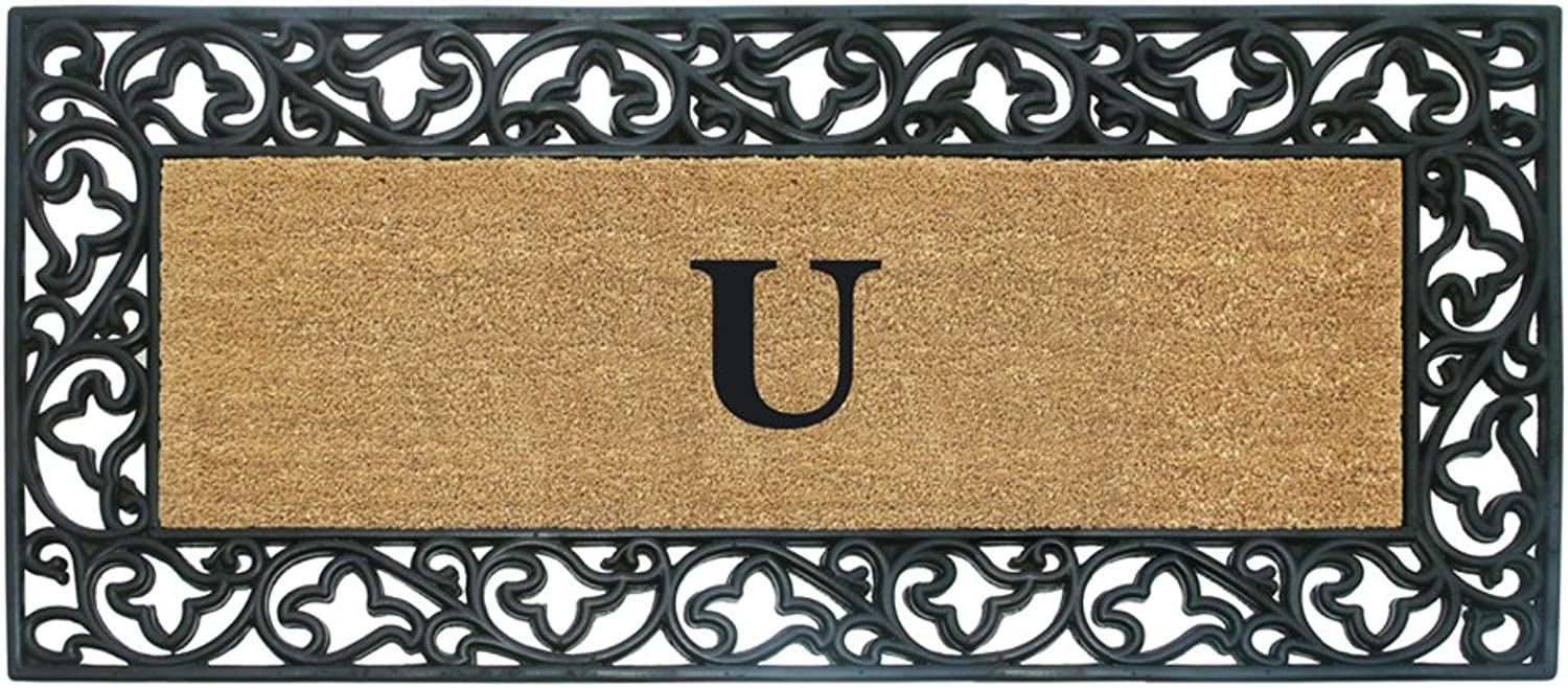 Nedia Home Acanthus Border with Rubber Coir Doormat, 24 by 57-Inch, Monogrammed U