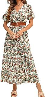 FridayIn Women's Floral Printed Casual Fashion Long Dress