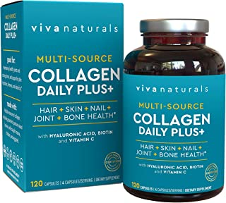 Multi Collagen Pills; Collagen Supplements with Type I, II & III Collagen Peptides for Healthy Hair, Skin and Nails, 120 Collagen Capsules for Women
