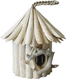 Meubletmoi Nichoir Maison à Oiseaux en Teck - Objet décoratif à Poser à Suspendre - Design bohème Chic & Nature - Birdy 01