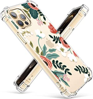 Gviewin iPhone 12 pro max case, floral series for woman, clear flower design, soft & ultra-thin TPU, shockproof bumper pro...