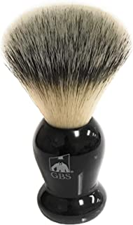 GBS Classic Synthetic Shaving Brush Bristles -Animal Free Vegan Brush- Super Soft with Black Resin Handle - Compliments and Razor for Ultimate Wet Shaving + Black Stand