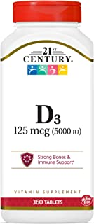 21st Century D3 5000 IU Tablets, 360 Count (Pack of 1)