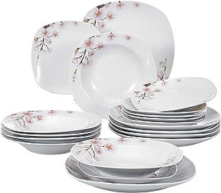 VEWEET Annie Juegos de Vajillas 18 Piezas de Porcelana con 6