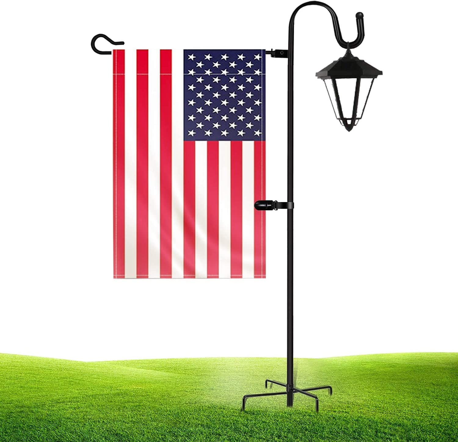 JOYSEUS Garden Flag Holder Stand and Shepherd Hook, 36 Inches with 1/2 Inch Thick Heavy Duty Garden Flag Stand, Rust Resistant Yard Flag Pole Holder for Flag, Lights and Plants(Without Solar Lights)