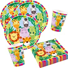 Unbekannt Conjunto DE 36 Piezas de Animales: Jungla, Selva, León, Cebra, Jirafa, cocodrilo, servilleta de Taza para 8 Niños