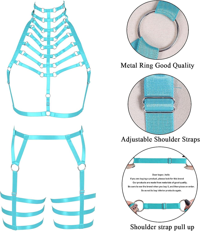 Lingerie cage Full body harness for women Gothic Punk Bra Garter belt set Chest strap Festival Rave Plus size Halloween