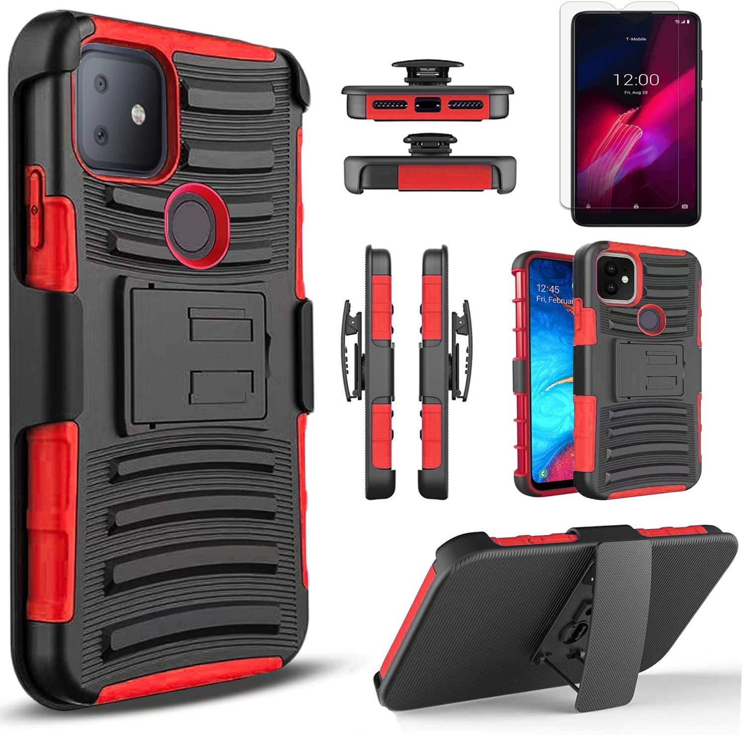 Circlemalls - T-Mobile Revvl 4 Plus Phone Case, [Not Fit Revvl 4] With [Tempered Glass Screen Protector Included], Armor Heavy Duty Kickstand Cover With Belt Clip Holster - Red