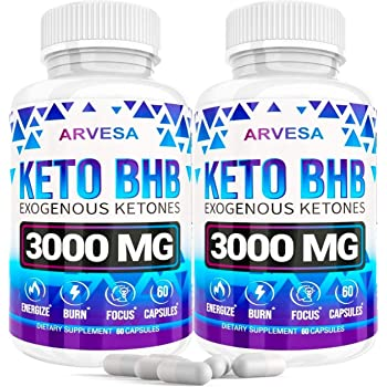 Keto Diet Pills - 5X Dose (2 Pack | 3000mg Keto Bhb) - Exogenous Ketones Bhb Supplement for Women and Men - Boost Energy & Focus, Support Metabolism - Made in USA- 120 Capsules (120 Capsules)