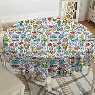 Cranekey Plaid Round Tablecloth 36 Inch Emoji,Pop Art Hand Drawn Cartoon Style Eye Ice Cream Rainbow Donut Lip Heart Banana Ghost,Multicolor for Home,Party,Wedding & More