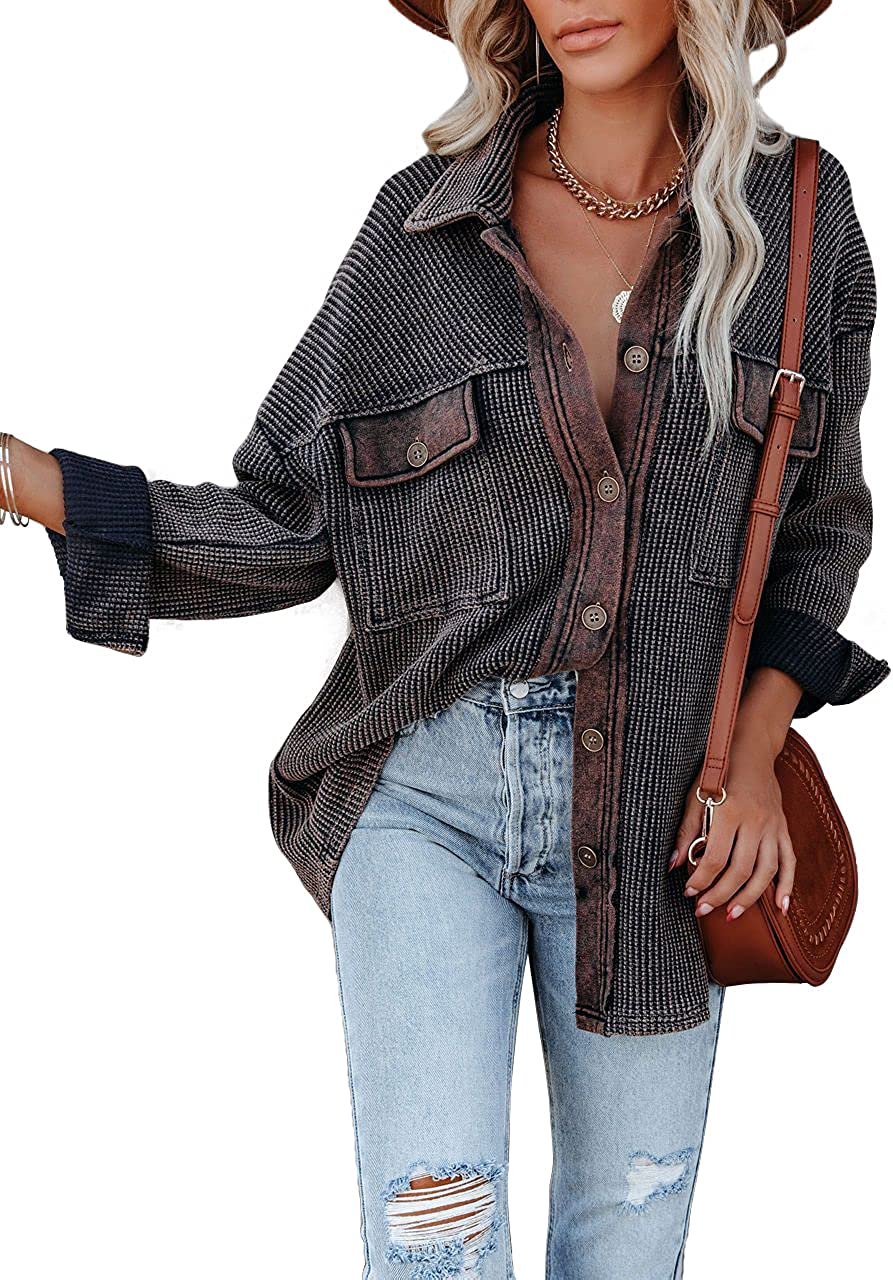 SAUKOLE Womens Casual Button Down Cardigan Sweater Long Sleeve Stand Collar Blouses Loose Outerwear Jackets