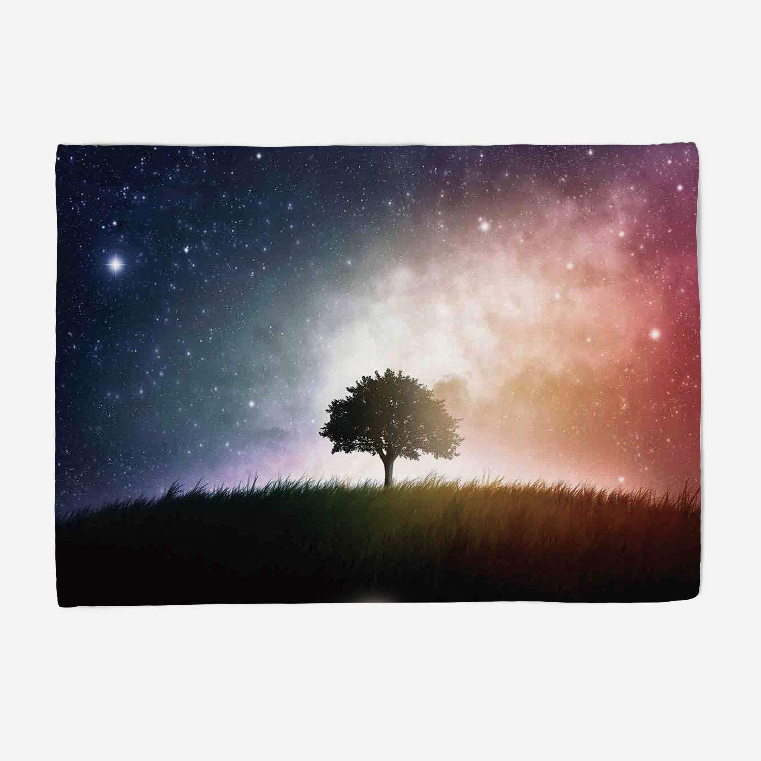 YOLIYANA Microfiber Throw Blanket Set Perfect for Couch Sofa or Bed 49x39 inches Space,Single Tree in Field of Meadow Valley with Stars Universe Spiritual Display Print,Magenta bluee