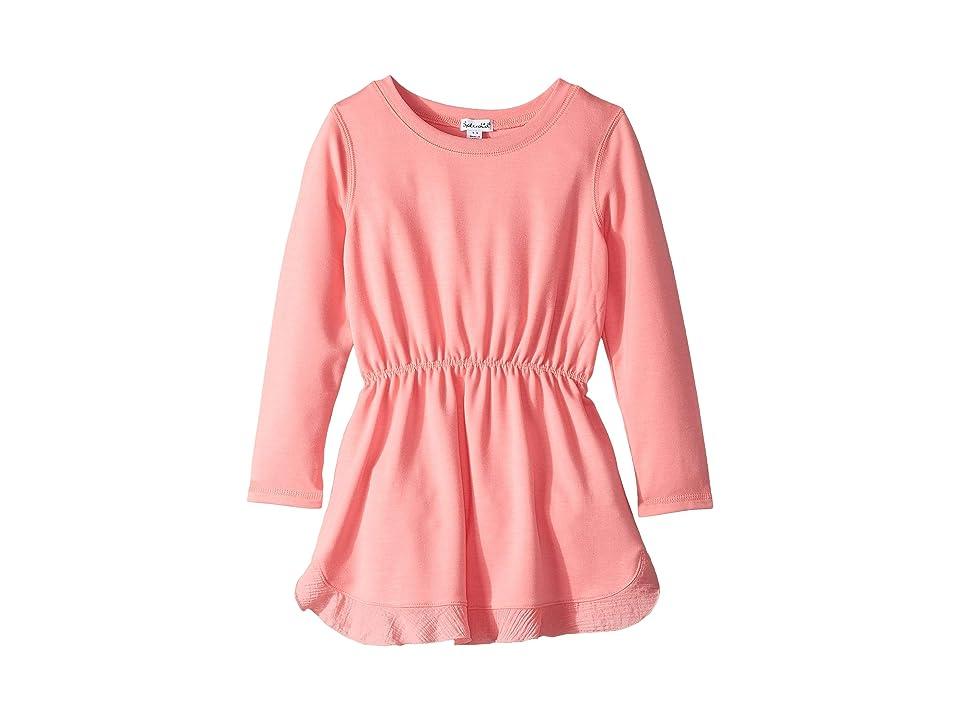 Splendid Littles Long Sleeve Flounce Dress (Toddler/Little Kids) (Iced Papaya) Girl