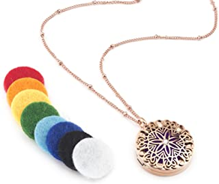 Flower Burst Essential Oil Diffuser Necklace (Rose Gold) - Hypoallergenic 316L Surgical Grade Stainless Steel, 21